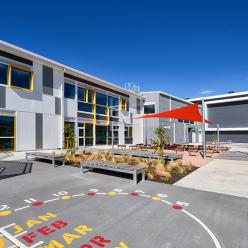 The school features outdoor learning areas