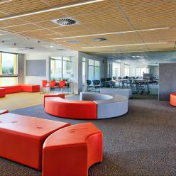 Social spaces separate open-plan learning areas