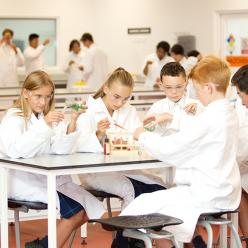 Students work in a science laboratory in our Innovative Learning Environment